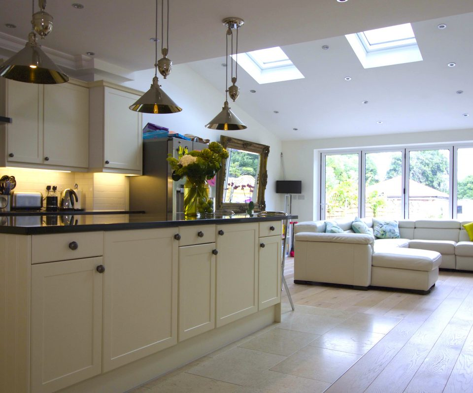 Open plan living House redevelopment - total gut and loft conversion. Floor heights changed to increase headspa