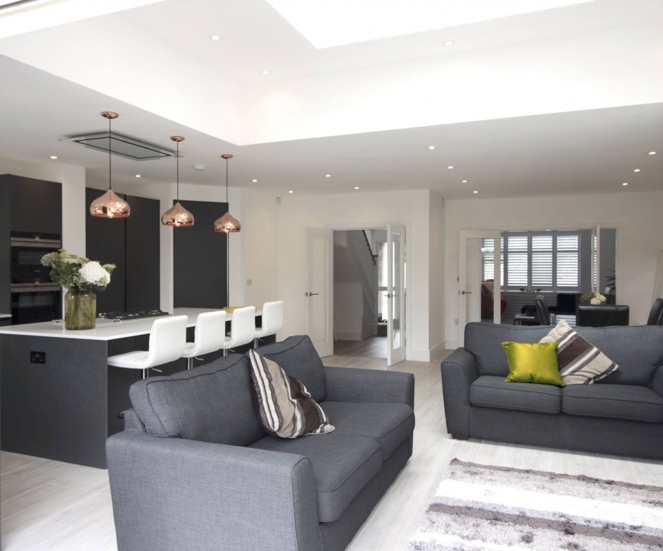 Extension open plan living, dinning area and lounge, significant floor space added