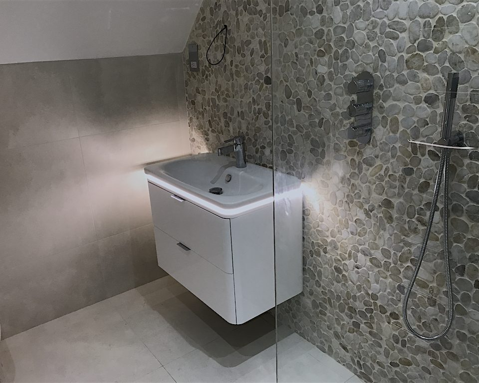contemporary bathroom, glass screen, wetroom