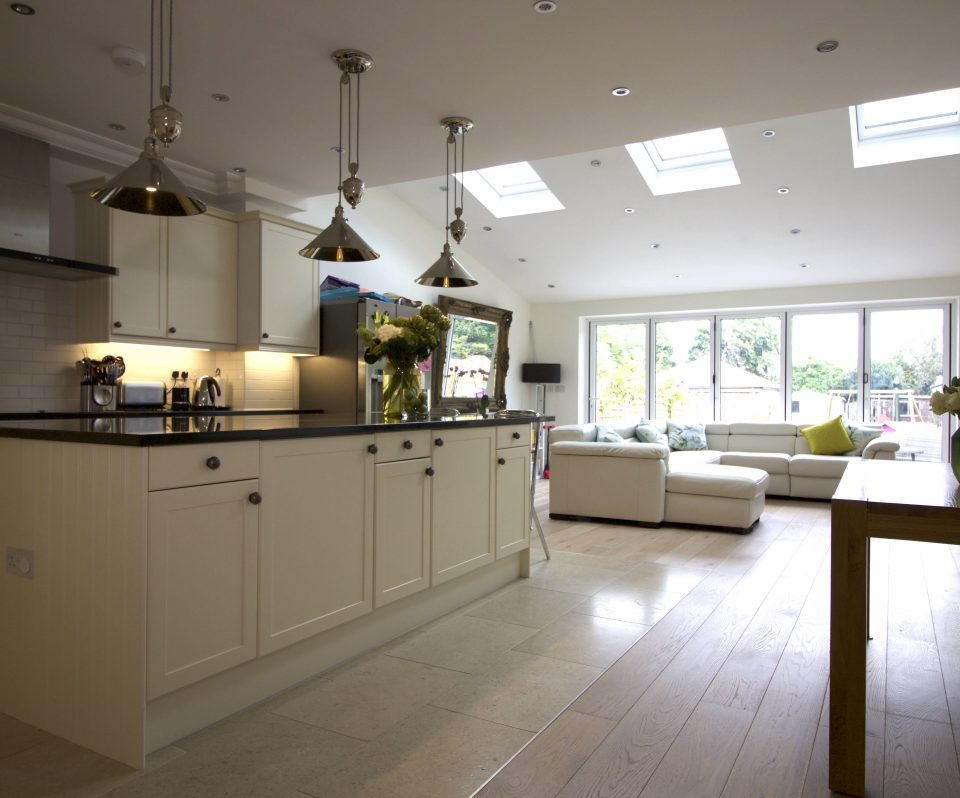 Open plan kitchen, island, rear extension, family room